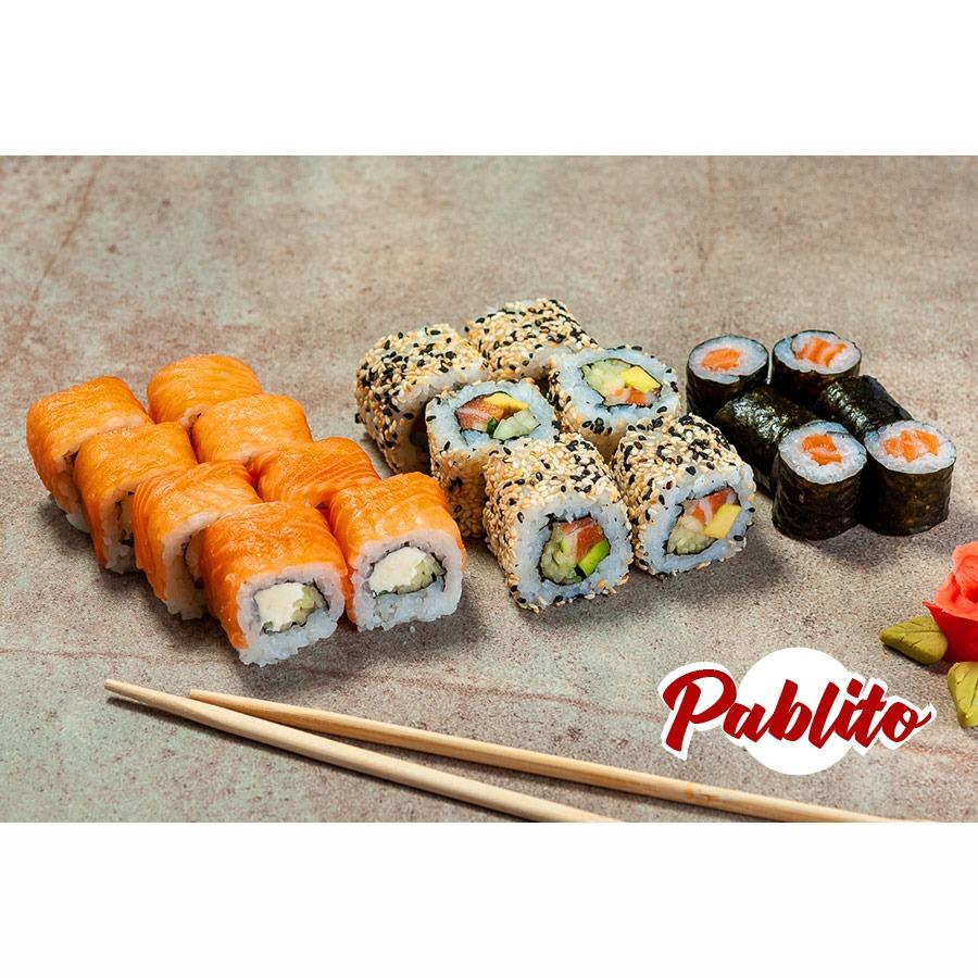 сет суши с лососем фото